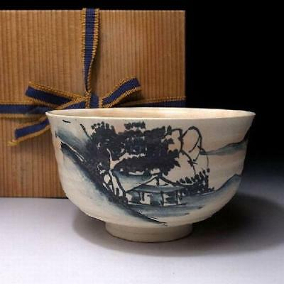 AJ6: Vintage Japanese Hand-painted Tea Bowl, Kyo ware, Blue and white, Sometsuke