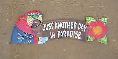 """Hand Crafted Wood """"Another Day in Paradise"""" Sign Beach Nautical Tiki  Decor"""
