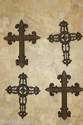 (4) 2 pair,CAST IRON CROSSES,FLEUR DE LIS,WALL PLAQUES, VICTORIAN DECOR, #5,#19