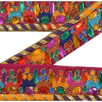 Sanskriti Vintage Sari Border Antique Hand Beaded 1 YD Trim Ribbon Purple