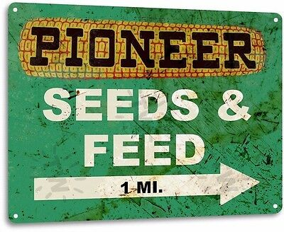 Pioneer Seed Vintage Retro Tin Metal Sign