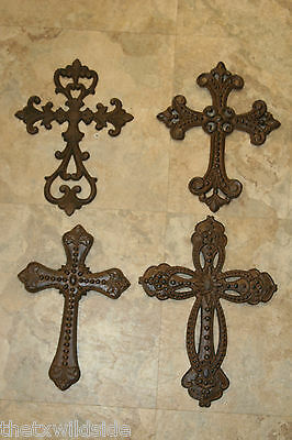 (4)Cast Iron,cross,assortment,wall Plaque,rustic,christian,crucifix,#6,7,16,21,