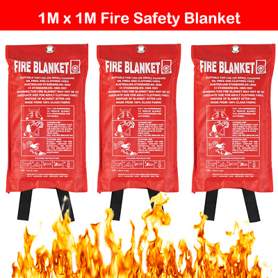 Single Large Fire Blanket 1mx1m Safety Quick Release Home Kitchen Office Caravan