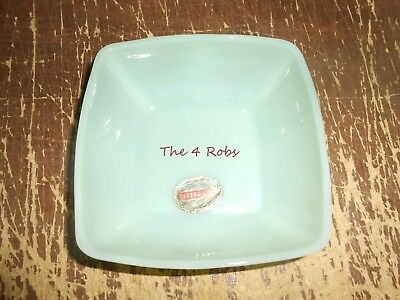 Vintage New Old Stock Fire King Jadeite Charm Square Bowl 4 3/4""