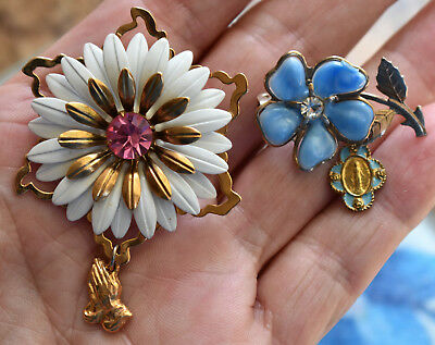 Pair Of Lovely! Vintage Rhinestone Flower Brooch, Pin, Religious Medals Dangle