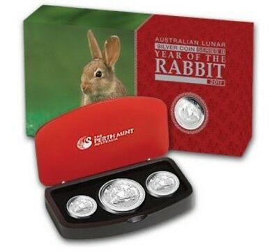 Australia Proof 3 Coin Set Silver Rabbit 2011 1 Oz 2 Oz 1/2 oz Monkey proof PF