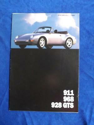 Porsche Sales Brochure 911 Carrera 968 928 Gts Car Specification Fold Out Poster