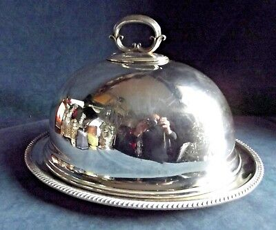 GOOD Large ~ SILVER Plated ~ Walker & Hall Food COVER on HARRODS Platter ~ c1900