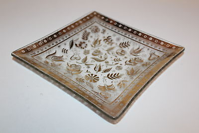 "Vintage retro MCM Frosted Glass Dish Square Gold Georges Briard 8"" Signed"