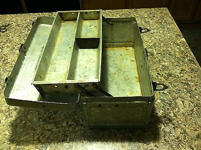 Nice Old Vintage Antique Aluminum Fishing Tackle Box