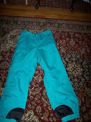 Vtg. Columbia Bright Teal Nylon Side Zipper Snow Rain Pants. Sz L.
