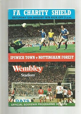 Charity Shield Ipswich Town v Notts Forest 1978 VGC