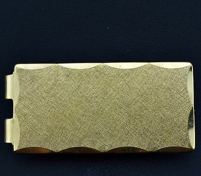 ANSON Rare Vintage Line Texture Scalloped Cut Edges Mens Money Clip