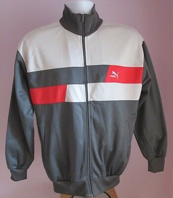 VTG Mens PUMA Grey/Red/White Tracksuit Sport Top Size Small