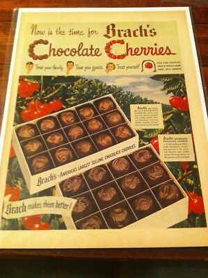 Vintage 1949 Brach's Chocolate Cherries Candy Print Art ad