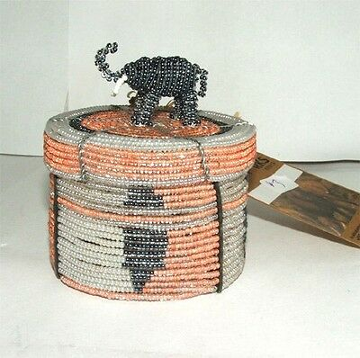Traditional African Beaded Wedding Box with Elephant top FREE SHIPPING #03