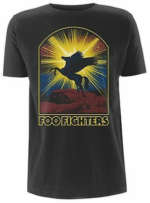 Foo Fighters T Shirt Winged Horse Official Black Mens Dave Grohl Concrete & Gold