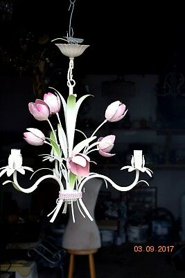 Superb Vintage Tole Ware French Painted  Large Chandelier