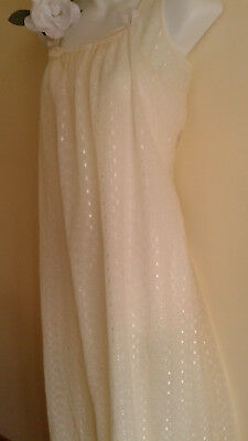 VINTAGE LACEY  NYLON NIGHTGOWN  Size L, soft pale yellow Beautiful YOU 2 layers