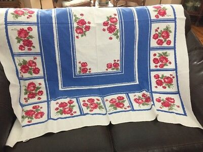 Vintage 1950's Tablecloth Blue, Red & White w Flowers