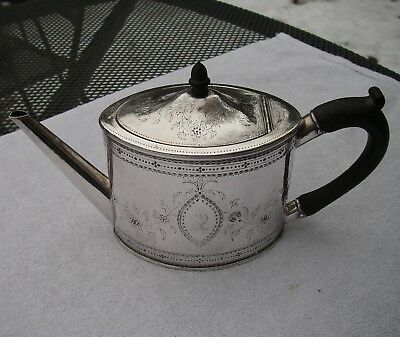 Fine Old OLD SHEFFIELD PLATE Oval TEAPOT-Bright-Cut Engraved-RESTORED-NR
