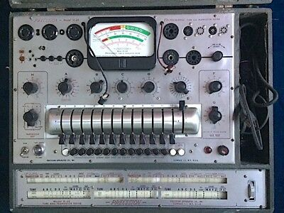 PRECISION Model 10-60 Electronamic Vacuum TUBE and TRANSISTOR TESTER + Adapters