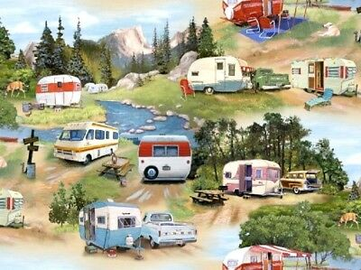 Elizabeth's Studio ~ Real Small Vintage Campers ~ 100% Cotton Quilt Fabric BTY