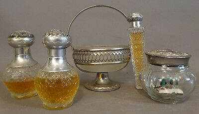 5pc Antique ART NOUVEAU SILVER P. LADY CAMEO BUST Old DRESSER JAR Perfume Bottle