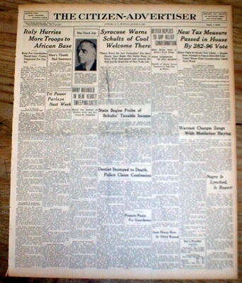 <1935 newspaper NEGRO MAN LYNCHED at PITTSBORO Mississippi in CALHOUN COUNTY