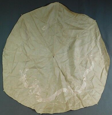 Edwardian Embroidered Japanese Dragon Pongee Raw Silk Parasol Fabric Cover Vtg