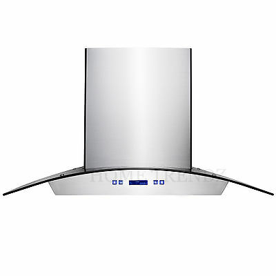 """30"""" Kitchen Wall Mount Stainless Steel Glass Range Hood Stove Vents"""