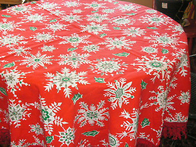 Vintage Christmas Tablecloth Round Tablecloth Snowflake Print Gold White Red