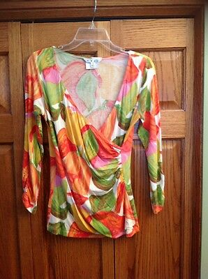 CAbi 579 Top Wrap Tulip Multi Color Floral 3/4 Sleeve Ruched Womans Size M