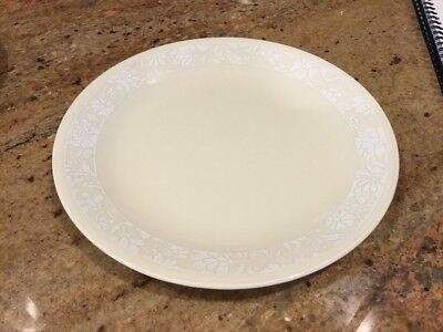 "CORELLE WHISPER Luncheon Plate 8 1/2"" White Floral Lace Band On Beige Sandstone"
