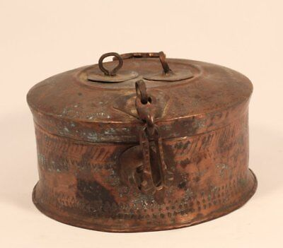 1800's Antique Old Brass Hand Carved Indian Badmeri Chapati box