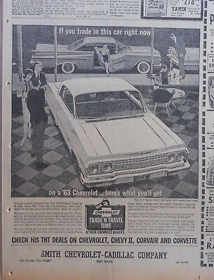 1963 newspaper ad for Chevrolet - '59 Impala Sport Coupe traded for '63 Impala