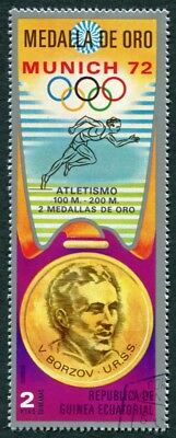 EQUATORIAL GUINEA 1972 2p used NG Olympic Medalists Munich V. Borzov b a2