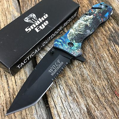 WOLF Image RESCUE Tactical Spring Assisted Pocket Knife Outdoor Wildlife.