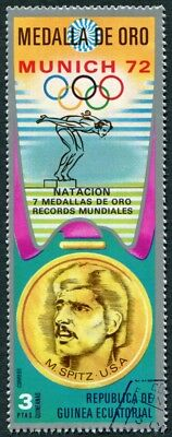 EQUATORIAL GUINEA 1972 3p used NG Olympic Medalists Munich M. Spitz c a2