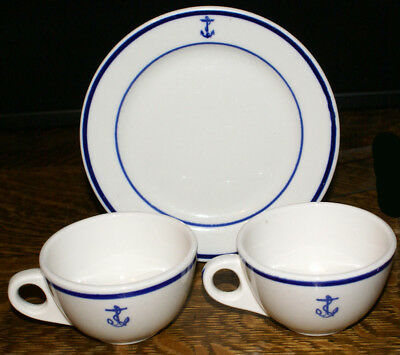 Restaurant Ware China U. S. Navy Fouled Anchor * TWO Coffee Cups & Salad Plate