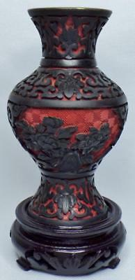 Antique/vintage Chinese Carved Red Black Cinnabar Lacquer Small Vase W/stand