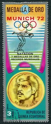 EQUATORIAL GUINEA 1972 3p used NG Olympic Medalists Munich M. Spitz g a2