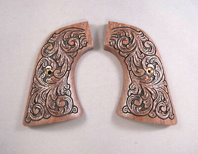 Ruger New Model Gun Grips w/Hand Carved Scroll Design