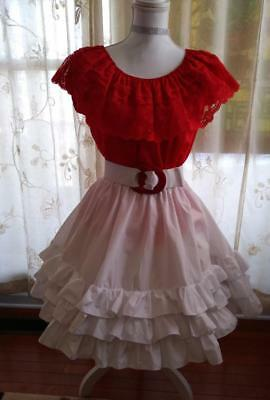 Square Dance Outfit Valentine's Day  Red Blouse S) White Skirt Malco (P) + Belt