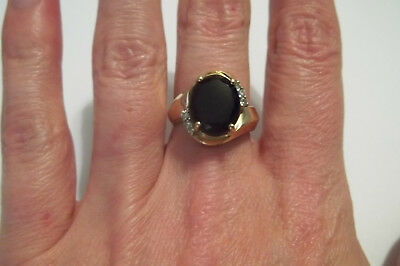 10k Yellow Gold Onyx Diamond Ring Vintage Size 6 1/2 wider band 4.5 grams