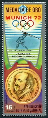 EQUATORIAL GUINEA 1972 15p used NG Olympic Medalists Munich K. Wolfermann e a2