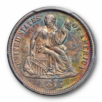 1875-CC 10C Mintmark Above Liberty Seated Dime PCGS AU 58 Registry Grade