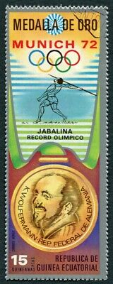 EQUATORIAL GUINEA 1972 15p used NG Olympic Medalists Munich K. Wolfermann h a2