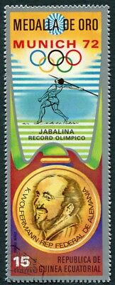 EQUATORIAL GUINEA 1972 15p used NG Olympic Medalists Munich K. Wolfermann k a2
