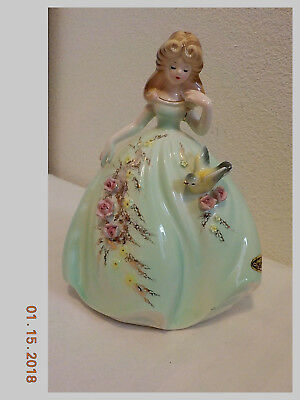 Vintage Josef Originals Figurine Young Lady With A Bird On Her Dress Skirt